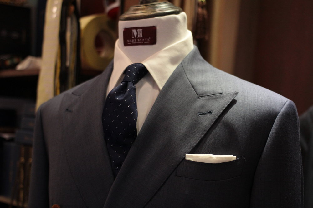 Mr Duke Double Breasted Sharkskin Blue Made Suits Made to Measure