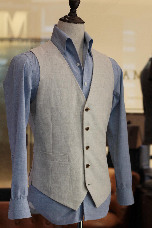 Marzoni Beige Linen Waistcoat | vest|  Made Suits | tailor made suits | Singapore tailor | bespoke | tailored suit side.JPG