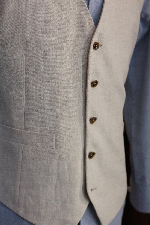 Marzoni Beige Linen Waistcoat | vest|  Made Suits | tailor made suits | Singapore tailor | bespoke | tailored suit horn buttons.JPG