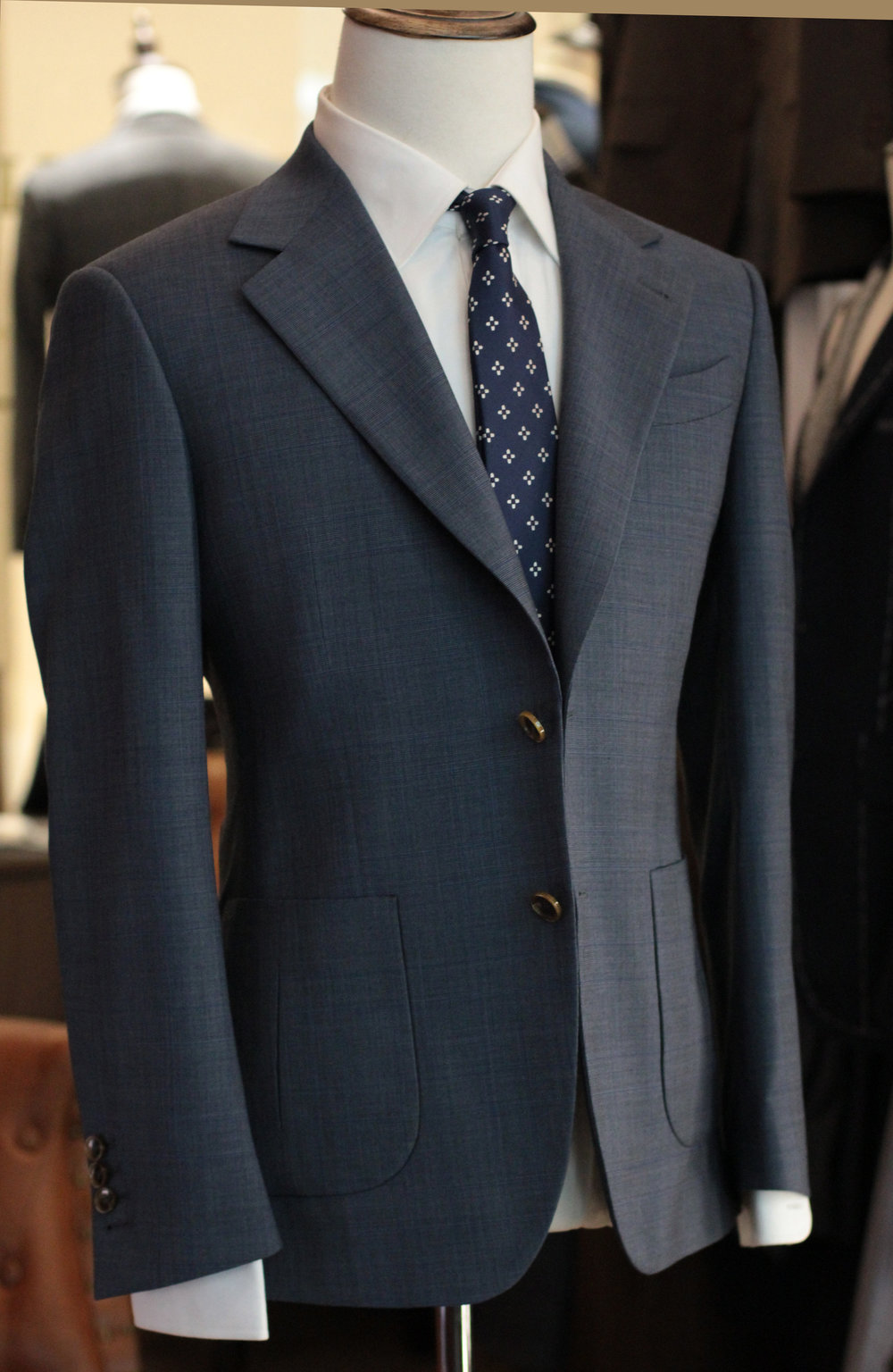 Made Suits Gangsta Notched Lapel Suit Herringbone Navy Blue Made to Measure Suit notched.JPG