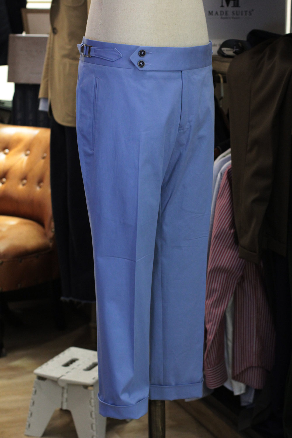 Light Blue Chino Cotton Made Suits Made to measure chinos trousers casual pants with cuff.JPG