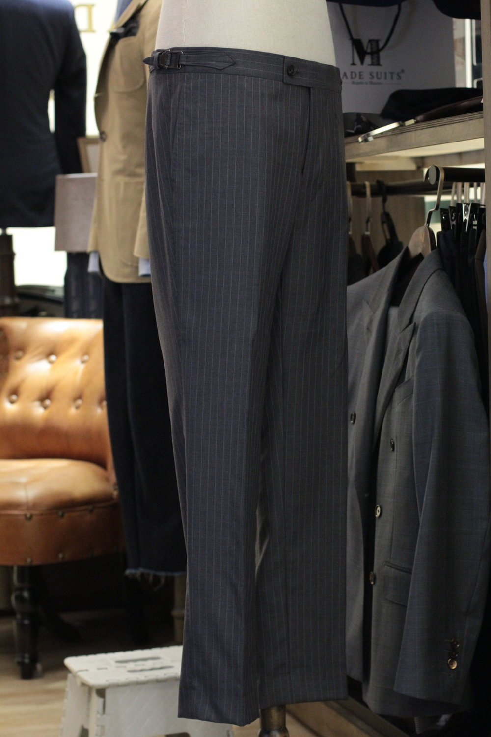 Grey Pinstripes Made to Measure Trousers Made Suits Super 130s side.JPG