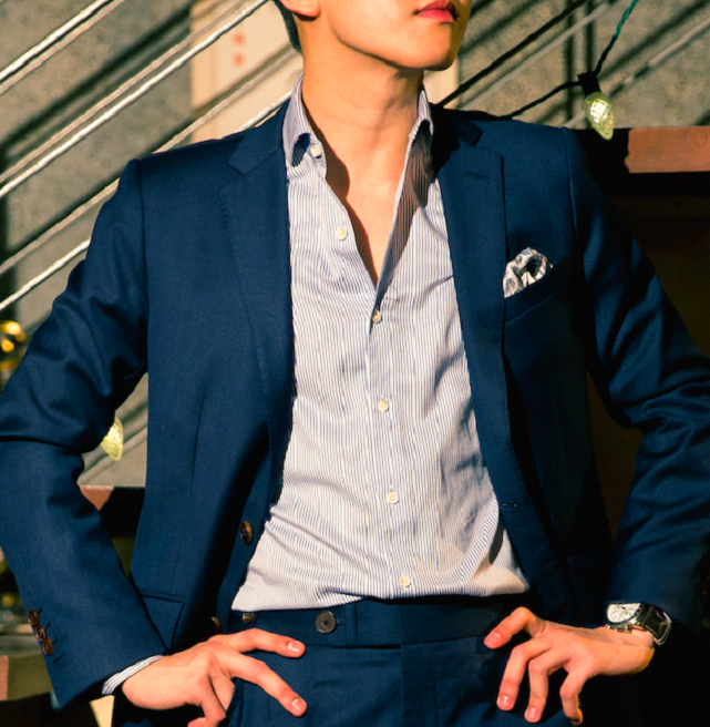An Example of  Stiff Collar Fusing  Standing high in your suit jacket.