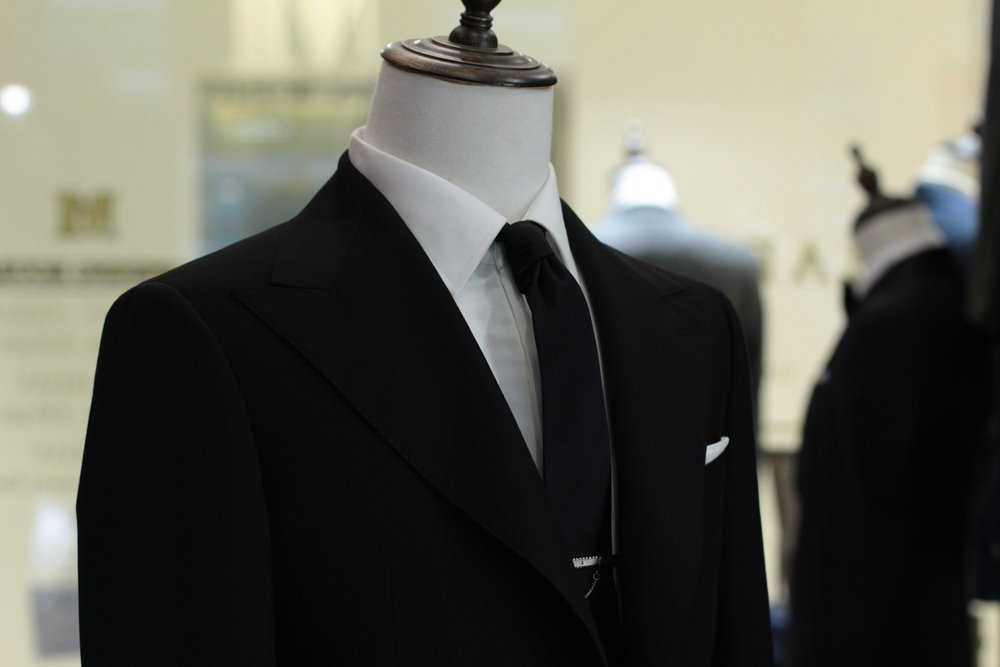 Made Suits Public Enemies Peak Lapel Suit Herringbone Black Suit Made to Measure Suit front.JPG