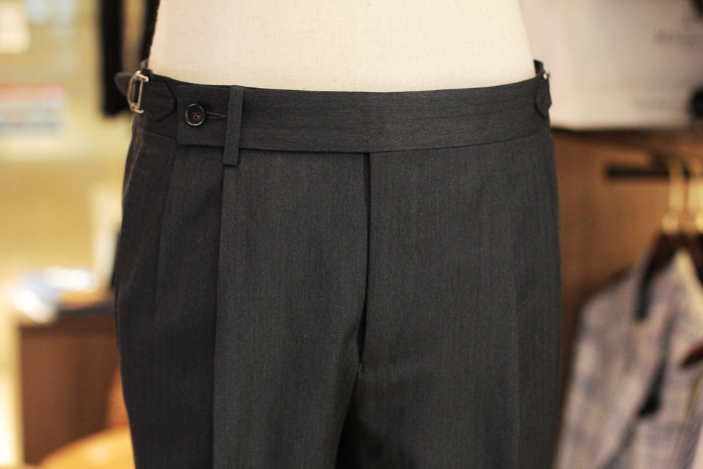 Extended tab and zip fly with  Single Button Closure with Double Pleats