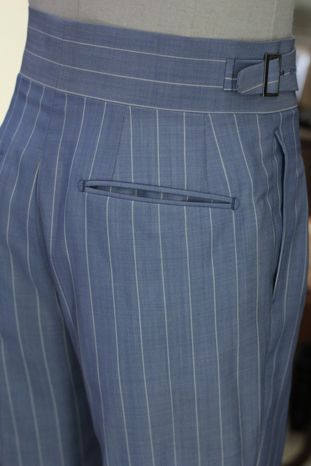Back Pocket Made Suits Made to measure Gurkha Trousers Bespoke Pinstripe light blue English Mohair Holland & Sherry.JPG