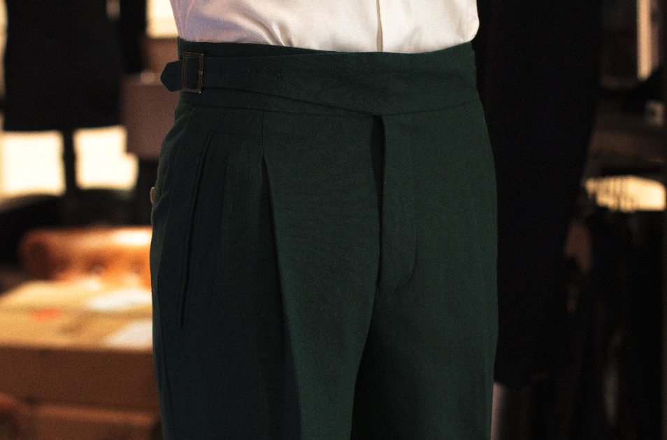 Front Linen Emerald green gurkha trousers bespoke made to measure made suits singapore Side Adjusters Bronze Side Adjusters 1.png