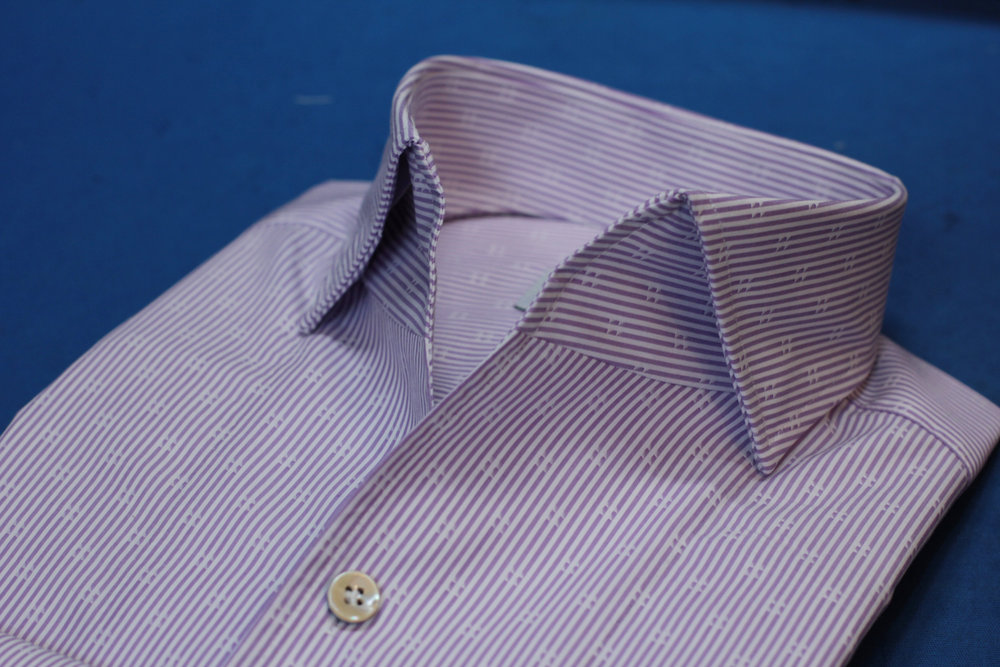 Purple Stripe One Piece Collar Made Suits Shirts | Made to measure Shirts.JPG