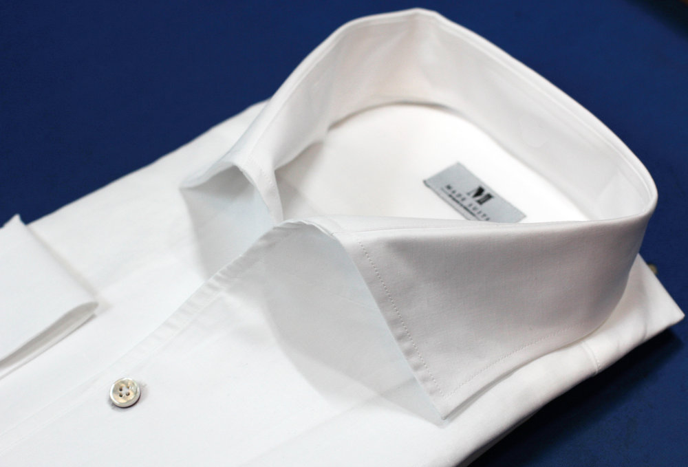 White Linen Blend One Piece Collar Made Suits Shirts   Made to measure Shirts Bespoke.JPG