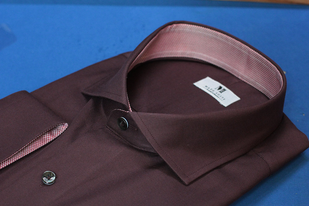 Maroon Red Made Suits Shirts | Made to measure Shirts side.JPG