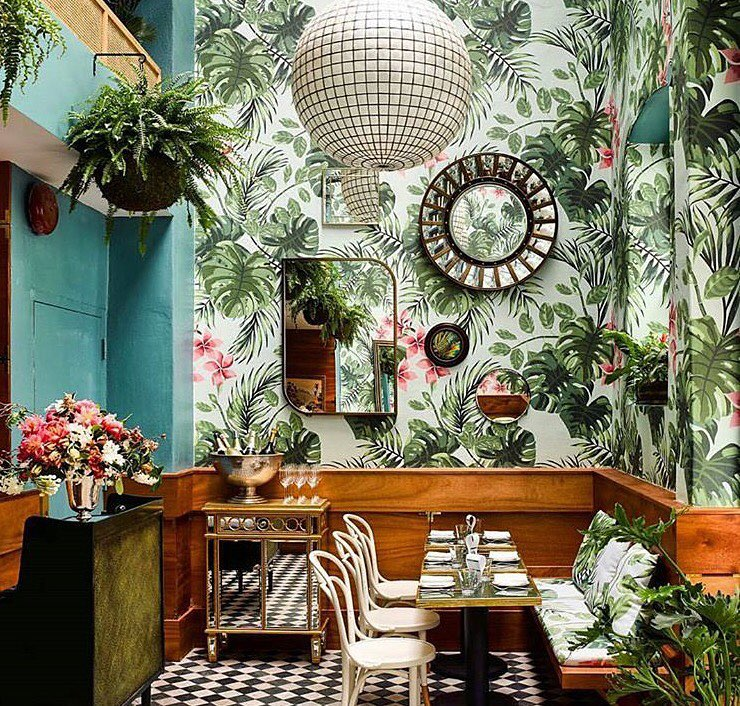 Restaurant using House of Hackney wallpaper and fabric.
