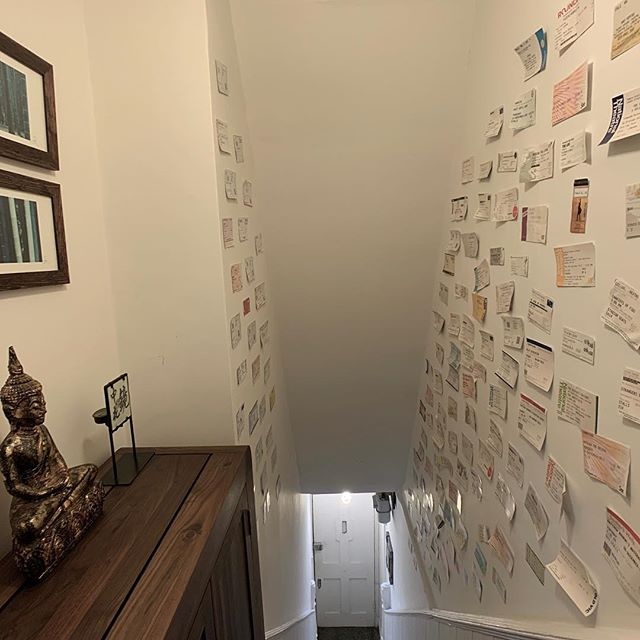 Taking a #photo of my #entrance #staircase was tricky but I wanted to share my #theatrical #walls filled with all my #theatre #opera #ballet and #musical #tickets seen in #london since I settled here in 2003. I love looking back at #shows seen over the years 😀 - and I love my Buddha too of course! #hallway #staircasedesign #entrancedecor #interiordesign #interiordesigner #interiordesignerlife #thespian #shoecabinet