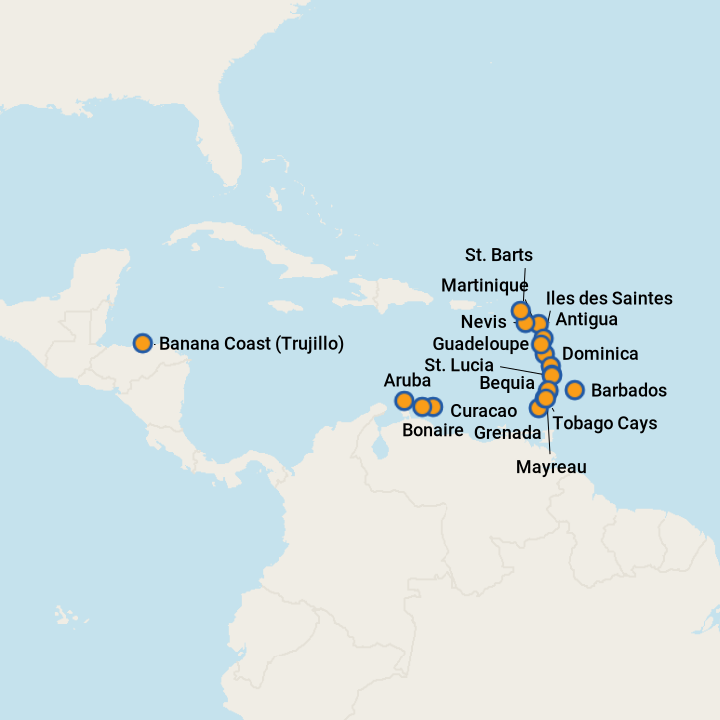 Cruise ports in couthern caribbean.png