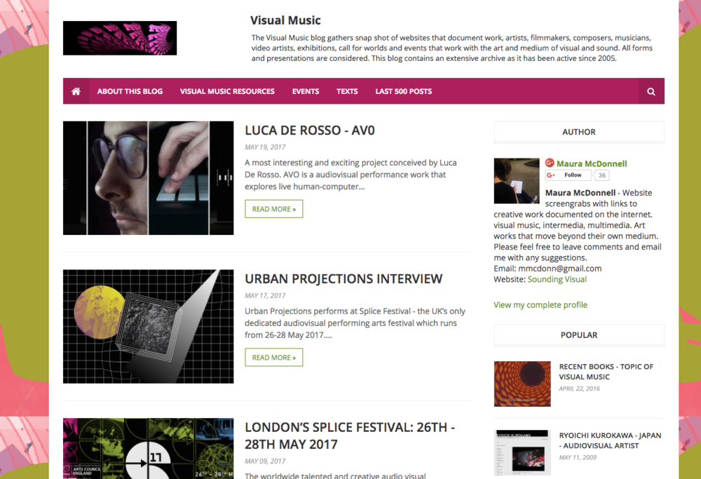 Visual Music Blog - The Visual Music blog was set up in 2005.  There are posts on news and information that is of relevance to the field of visual music.  You can visit the blog here athttp://visualmusic.blogspot.com