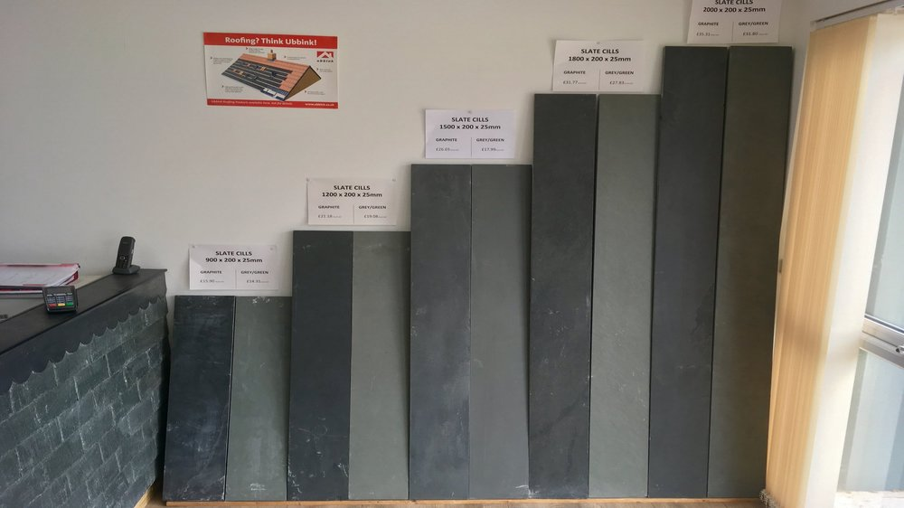 Large selection of slate cills and hearths in stock