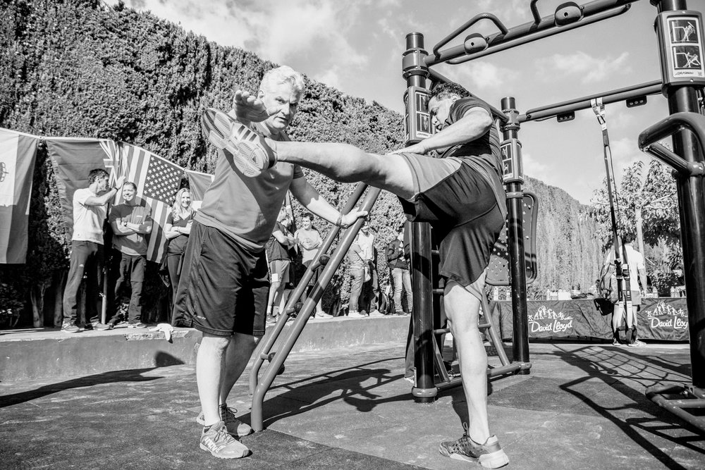 Chris Clough, Elite Trainer working with client during 2015 Personal Trainer To Watch competition in Barcelona, Spain