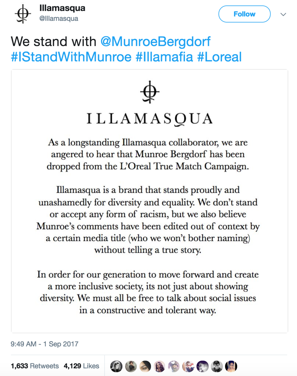 Illamasqua stands behind Munroe Bergdorf in early September