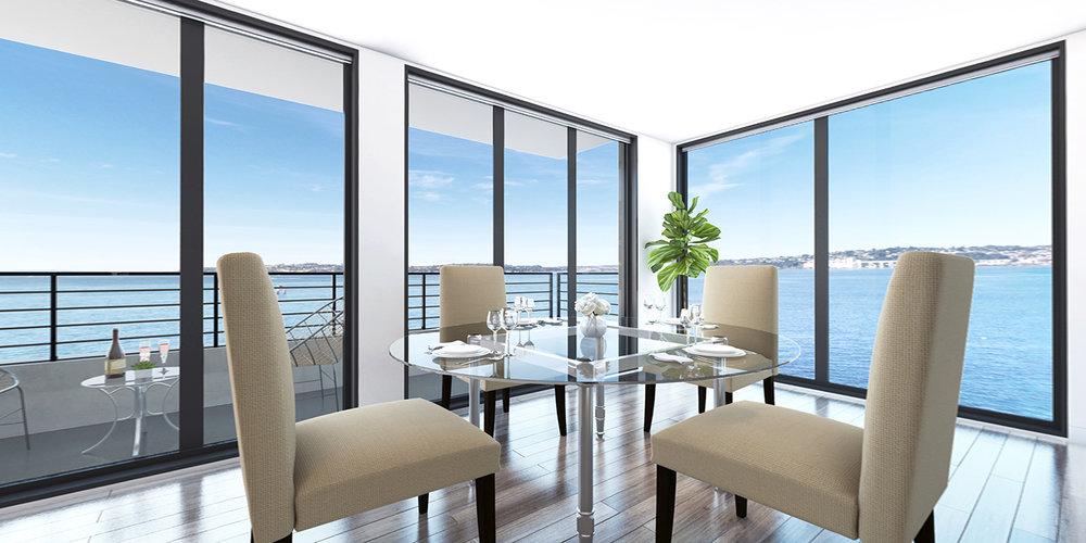3 bedroom luxury condos in Seattle - dinning room - The Pinnacle at Alki