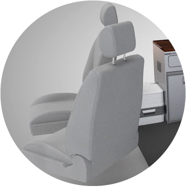 Sitting: the captain swivel seat - Swivel front seats turn the space in the middle into a communal living and dining space. Choose from one or both front seats being able to swivel, or with only the passengers seat swivelling, have extra long units (including a dry cupboard) or a toilet unit behind the drivers seat.