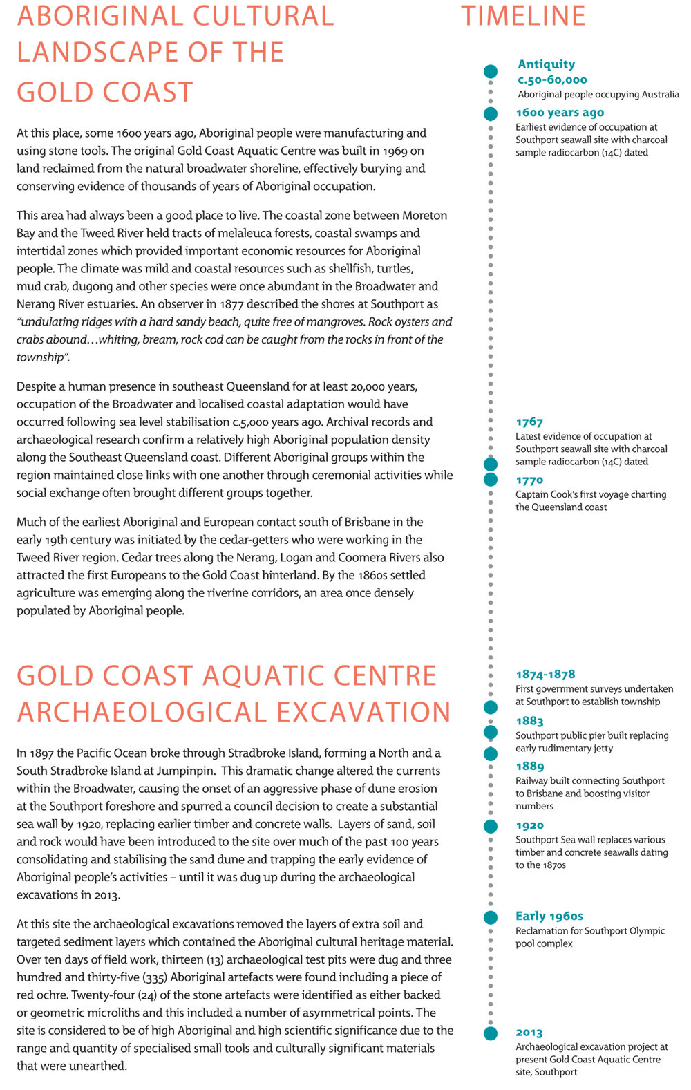 Aboriginal cultural heritage sites, Gold Coast Aquatic Center archaeological excavation permanent display