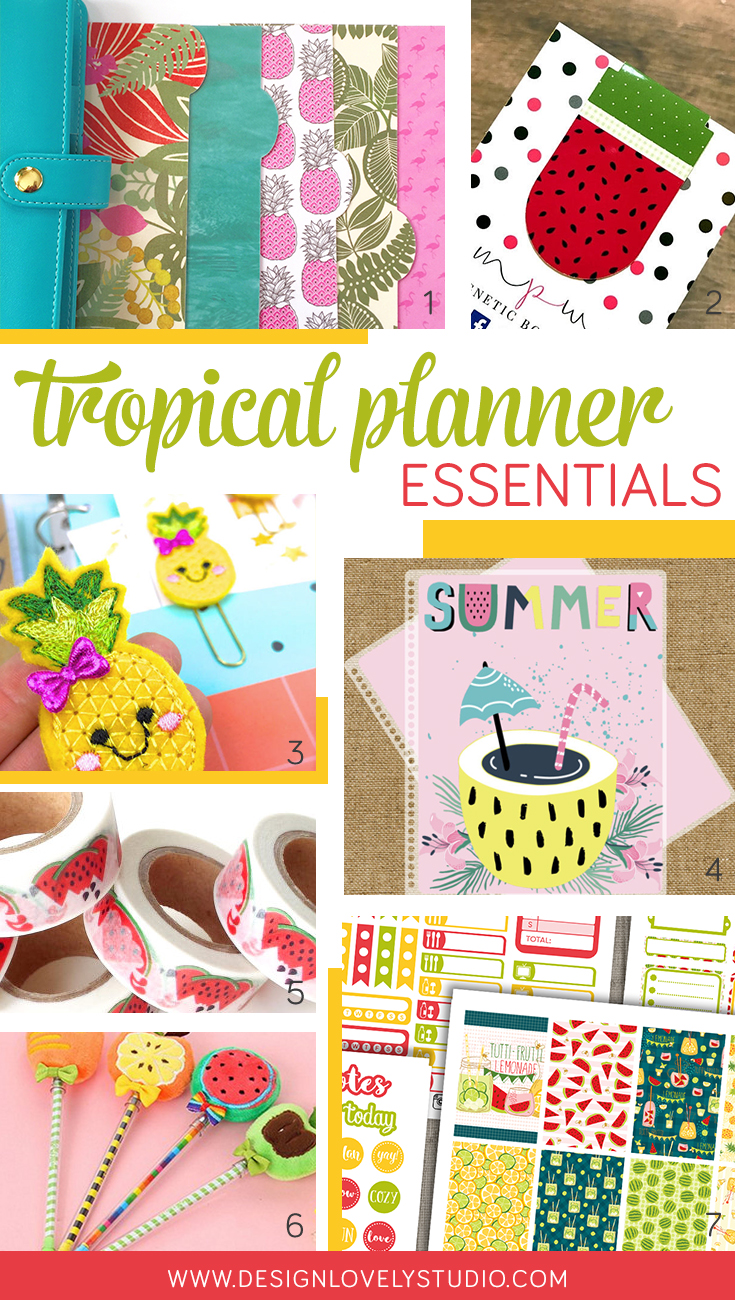 Must-have tropical planner essentials, including printable planner stickers, planner covers, planner dashboards, planner clips, magnetic planner bookmarks, pens and super cute watermelon Washi. Click through to read more >>>