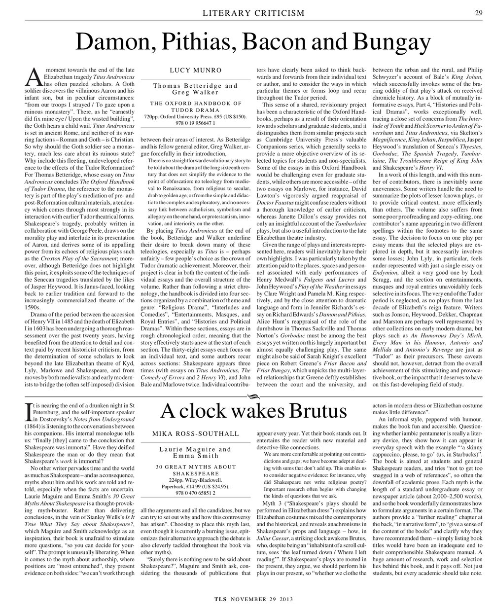 A clock wakes Brutus, Laurie Maguire and Emma Smith, Published in The Times Literary Supplement, November 29, 2013