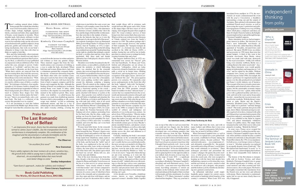 Iron-collared and corseted, Denis Bruna / Kimberly Chrisman-Campbell, Published in The Times Literary Supplement, August 21 & 28, 2015
