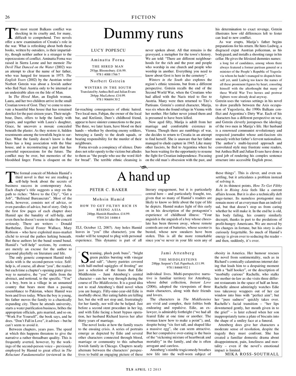 The Middlesteins, Jami Attenberg, Published in The Times Literary Supplement, April 12, 2013
