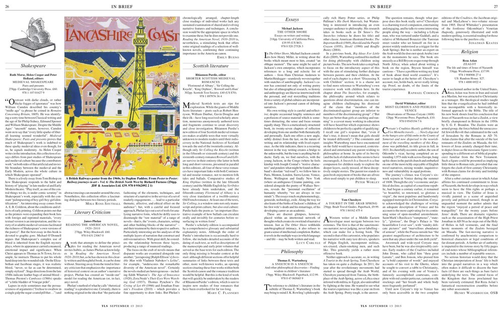 Medieval Shakespeare, Ruth Morse, Helen Cooper and Peter Holland (editors), Published in The Times Literary Supplement, September 13, 2013