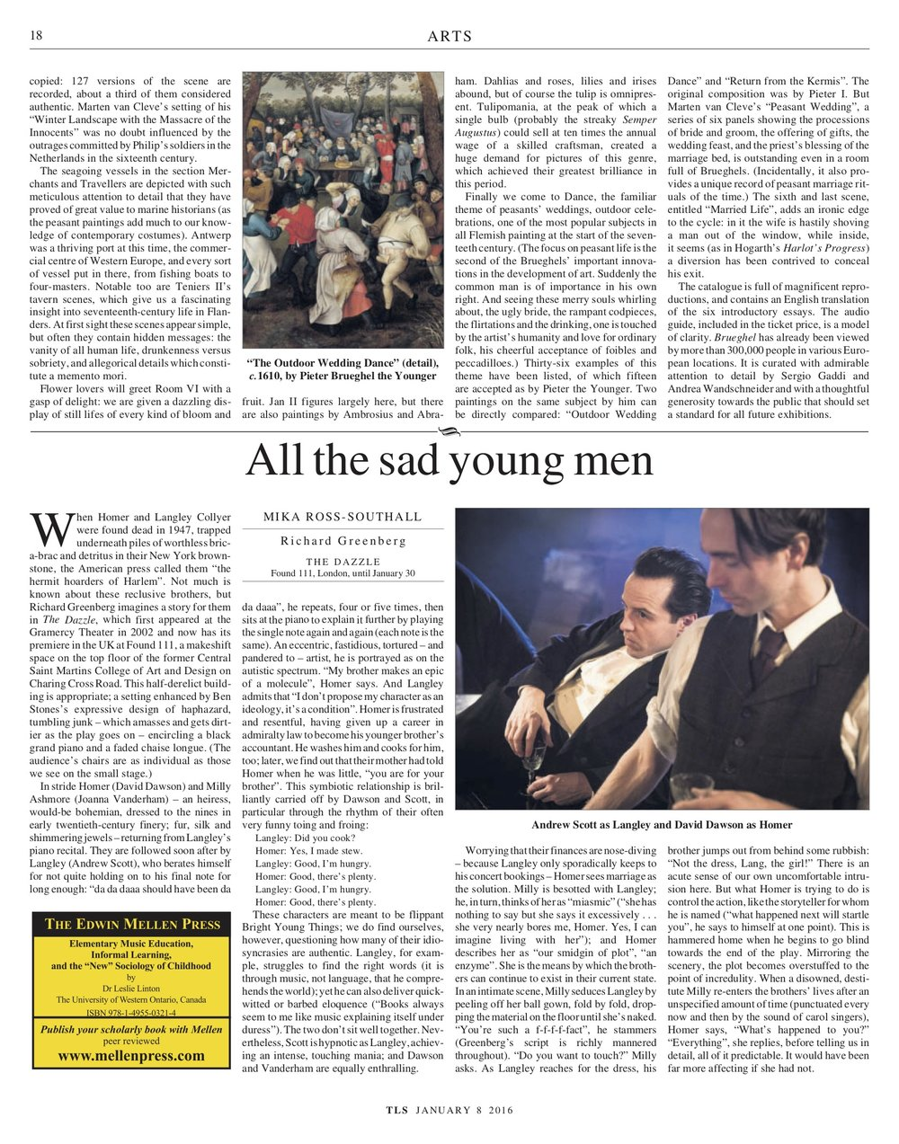 All the sad young men, Richard Greenberg, Published in The Times Literary Supplement, January 8, 2016