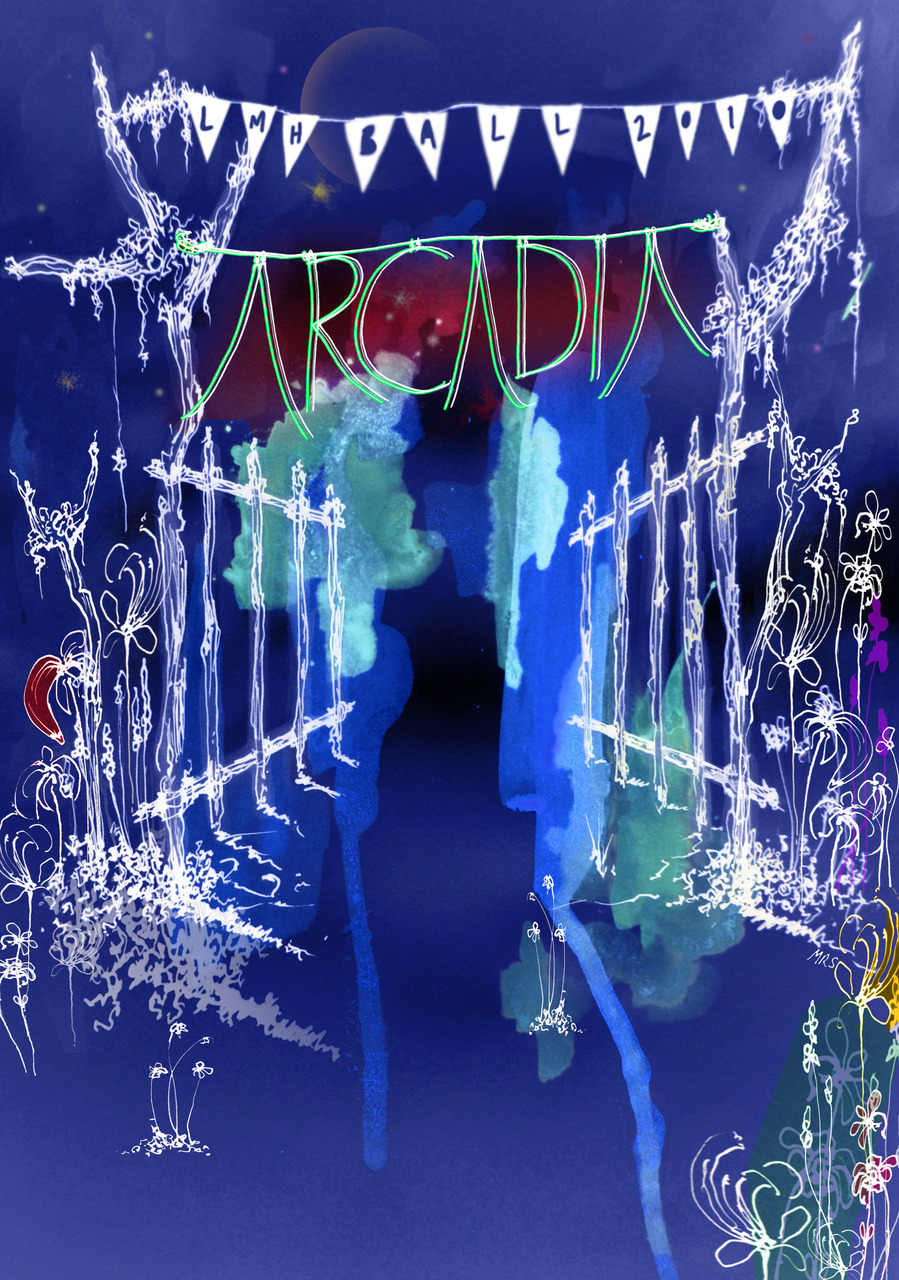 Design and artwork for 'Arcadia' poster, Oxford Summer Ball, 2010