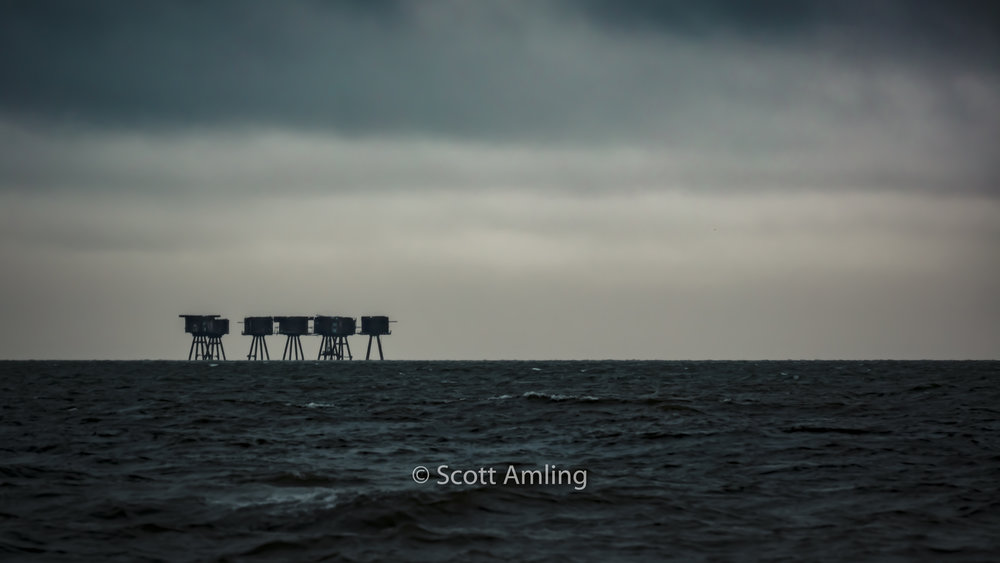 Maunsell Forts from a distance heading back to Whitstable Harbour, England (at sunset)