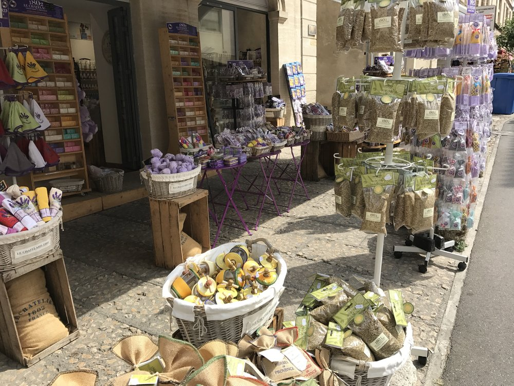 Lavender goods sold near Le Palais des Papes in Avignon