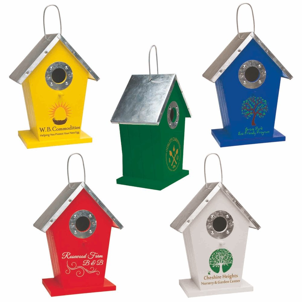 "Wood Birdhouse  Complies with Prop 65. 6 1/2"" L x 8 1/2"" H x 4"" W"
