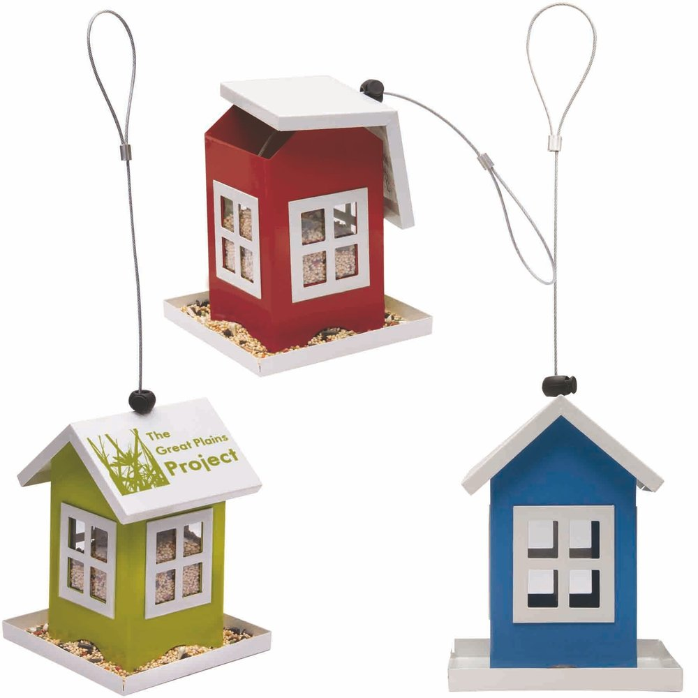 "Metal Bird Feeder  House, Seed, Tree. Complies with Prop 65. 5"" L x 5"" H x 6 1/2"" W"