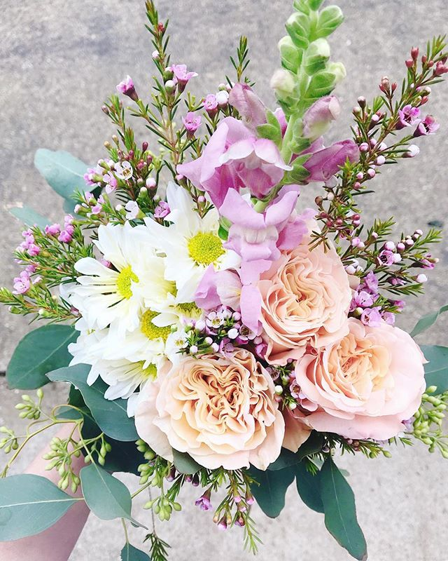 Where flowers bloom, so does hope 🌸 Lady Bird Johnson  This fresh flower Friday bundle is blooming with soft peach shimmer roses, lavender snapdragon and wax flower, daisies and a whisp of seeded eucalyptus... and is available to order for $15 for pick-up this Friday in Holland at the sweet @bombshellbdb or in GR at the lovely @jbandme36.  If you would like to order one, just send along a DM or email @belovedrootsfloral@gmail.com  Wishing you a very beloved Easter ✨💜