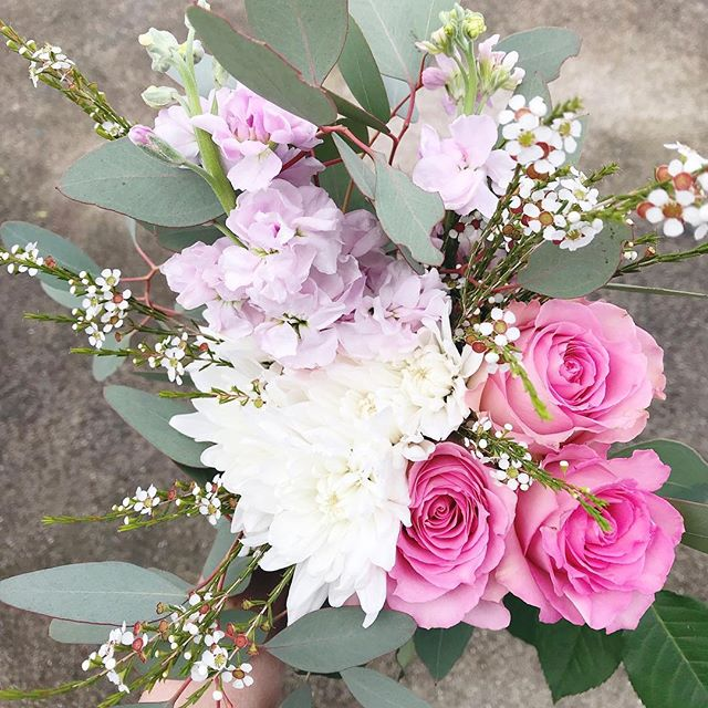 I'm not quite sure if these snow showers are mother nature's belated April Fool's joke or what...but we're not letting it ruin our spring vibes! Perk up with this bouquet bursting with pink roses, sweet smelling stock, mums and delicate greens, for $16 and available for pick up this Friday in Grand Rapids at the sweet @jbandme36 or in Holland at the awesome @bombshellbdb! There are a select number available, if you would like to place an order send along a DM or email belovedrootsfloral@gmail.com and melt away this last bit of winter flurry with some fresh floral joy! 🌿🌸☀️