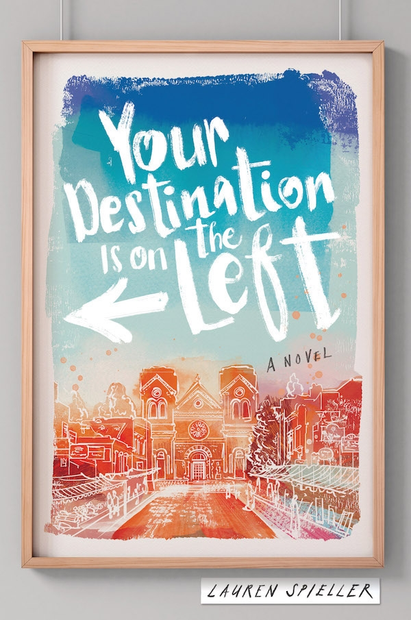 I am so excited that I finally get to share the cover of Your Destination is on the Left with the world! I was blown away when I first saw my cover. The setting, the colors, the fact that it's in a frame on a wall--it's all perfect (in fact, you'll have to read to find out just how perfect it really is!).   Fun Fact: when I visited Santa Fe recently, I was able to visit the exact spot on the cover! In fact, here's a picture of me standing in front of The Cathedral Basilica of St. Francis of Assisi! (Forgive my slouchy attire--much like my nomadic main character, Dessa, I'd been on the road for hours!)