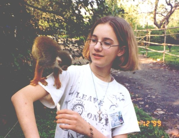 Young Kaitlyn with a monkey in India.