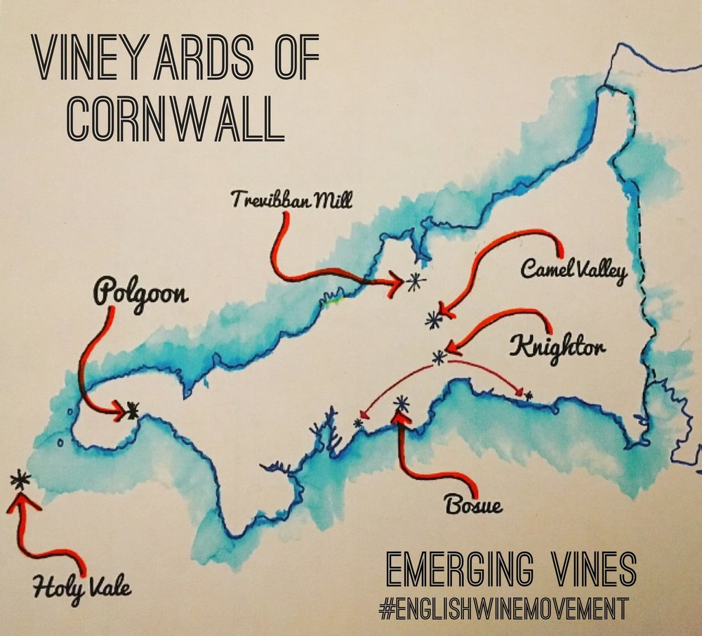 Map of Vineyards in Cornwall