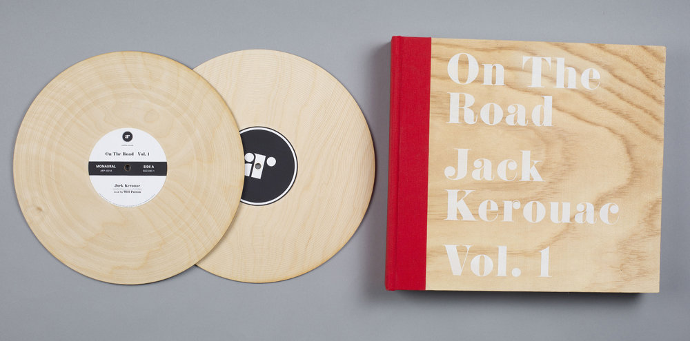 wooden records with laser-etched grooves