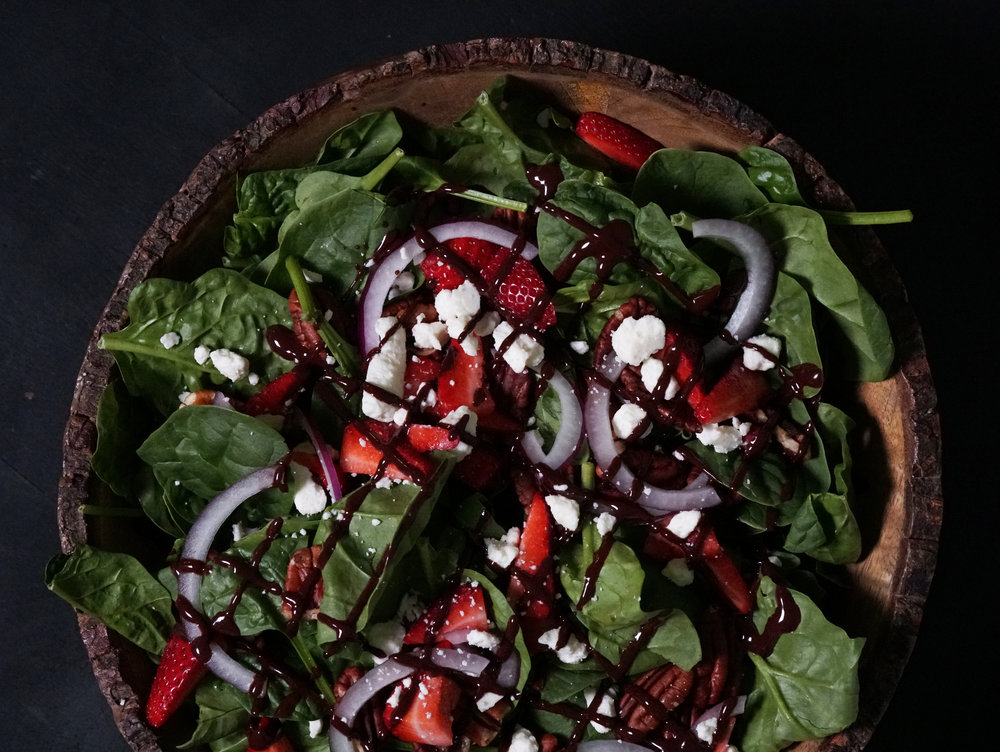 Spinach Salad with Strawberries, Pecans, Feta, Red Onion, and Chocolate Dressing E.jpg