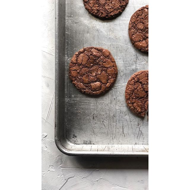 made @thaliaho's brownie cookies, because with dark chocolate and espresso, she can do no wrong. Recipe on her website.  #darkchocolate #seasalt