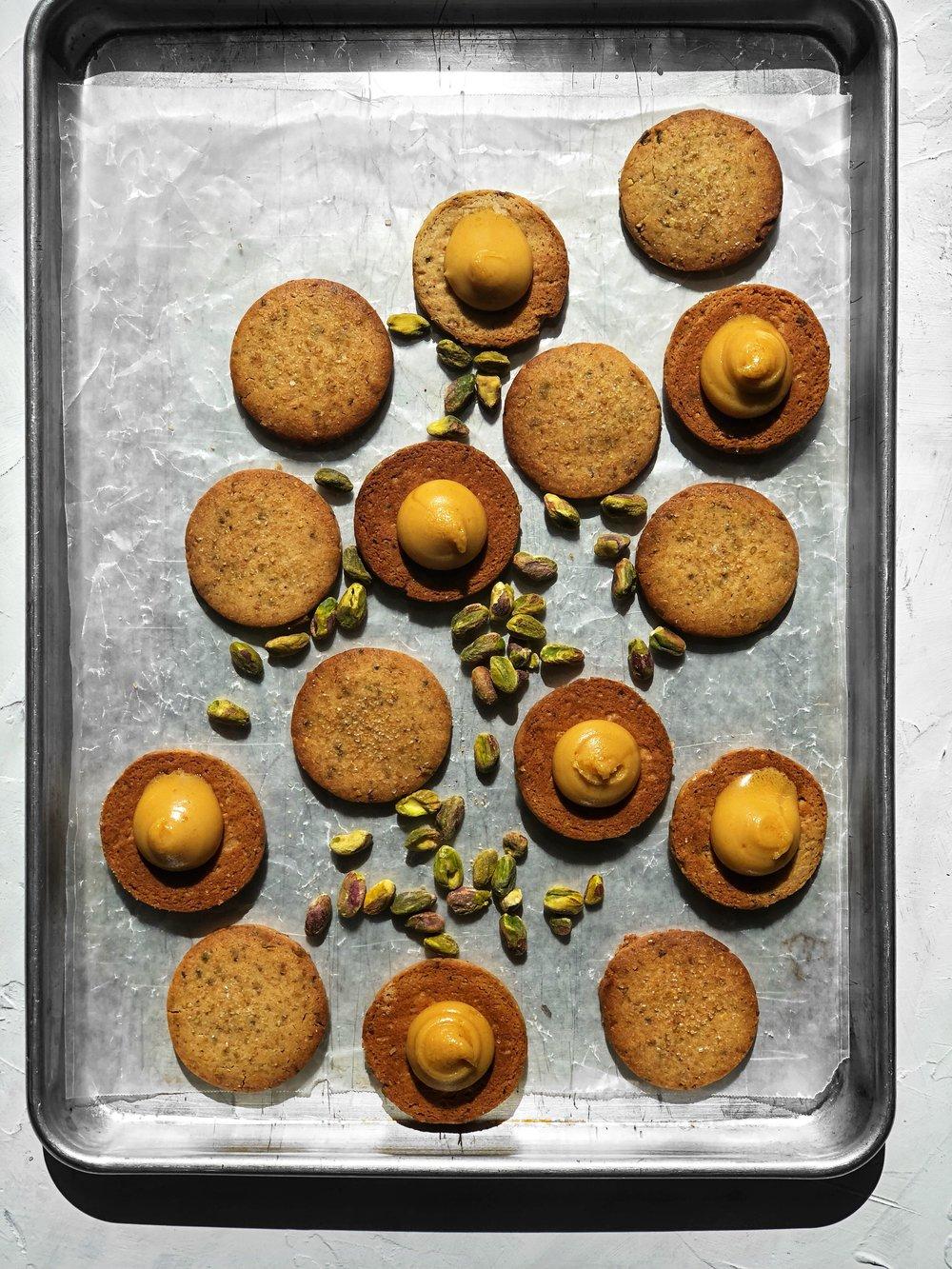 Pistachio Shortbread Cookies with Honey Brown Butter Cream   thymeforbreakfat.com.jpg