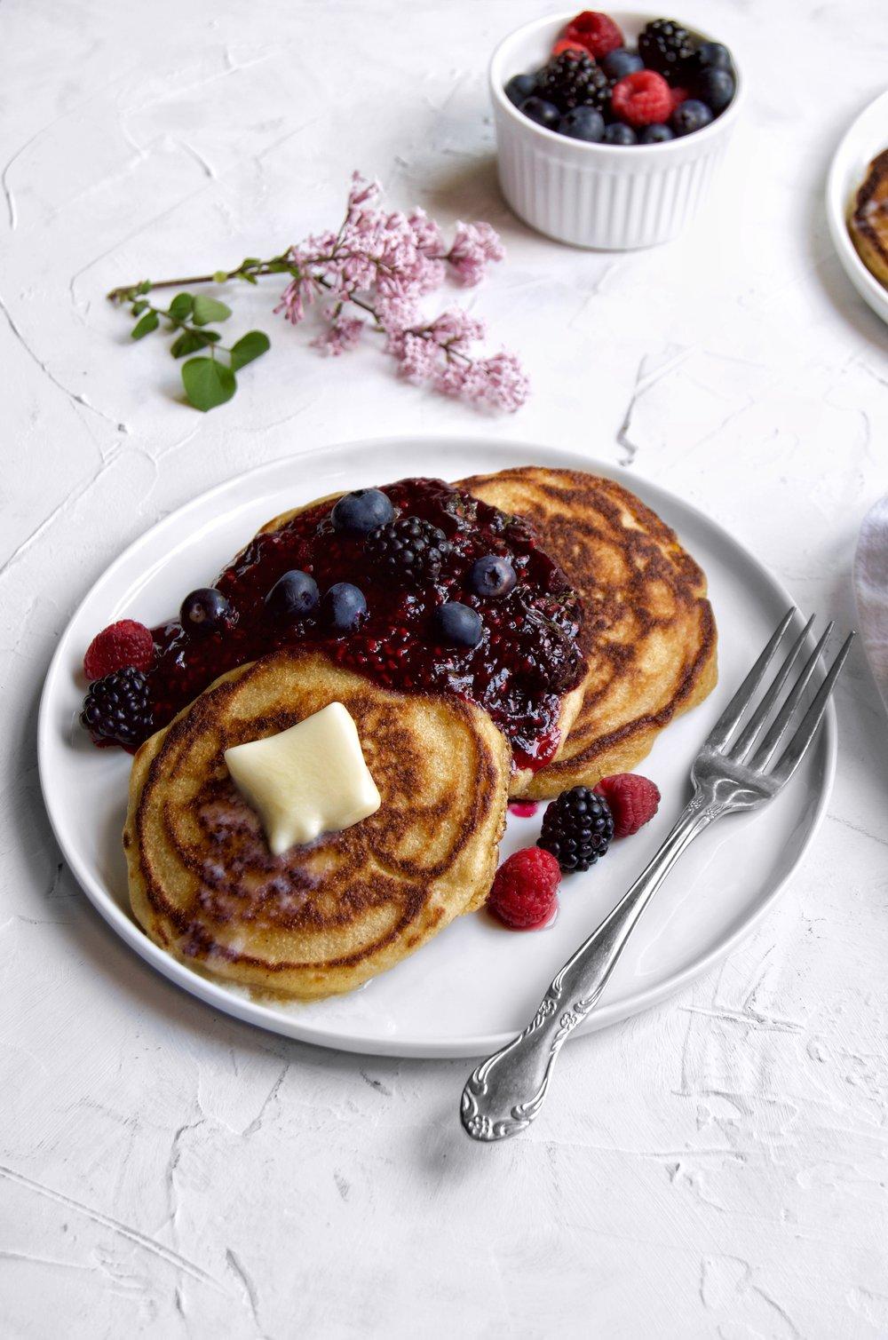 Brown Butter Cornmeal Pancakes Recipe | thymeforbreakfast.com.jpg