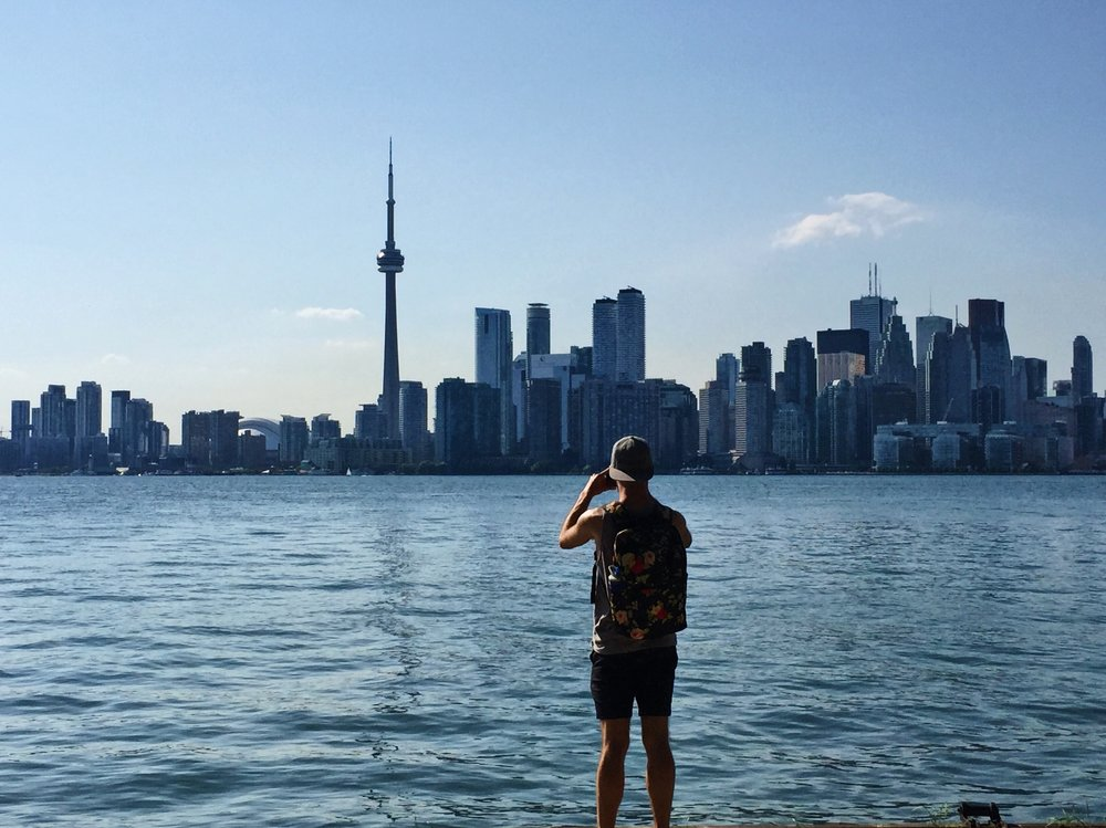 Taking in the skyline from Toronto Island