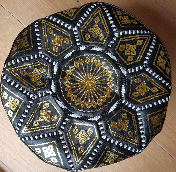 Moroccan Leather Pouf In Black White And Gold Leather Custom White And Gold Pouf