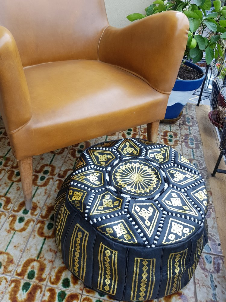 Moroccan Leather Pouf In Black White And Gold Leather Enchanting White And Gold Pouf