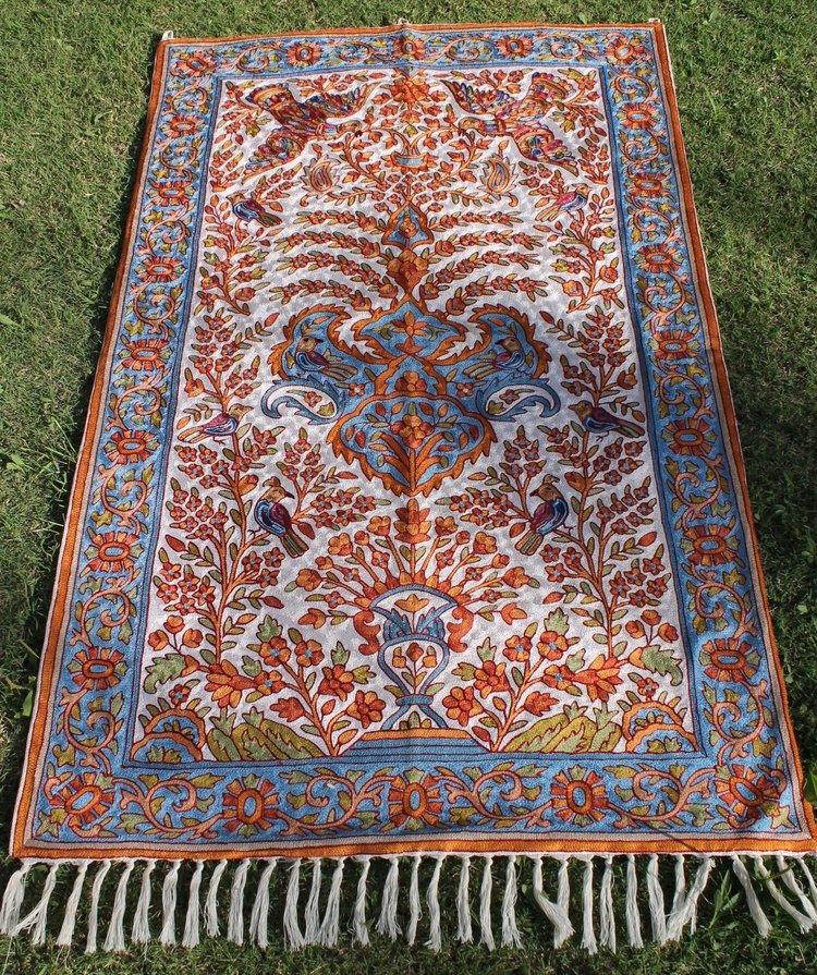Bird Of Paradise Kashmiri Silk Wall Hanging Kashmiri Chain Stitch