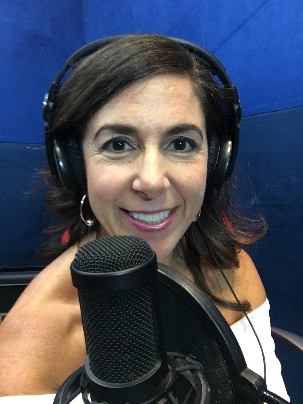 Kara Mayer Robinson recording Really Famous podcast with Jaime Camil